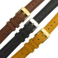 Genuine Leather Watch Strap Padded Lizard Grain Choice of Colours 12mm 14mm C016